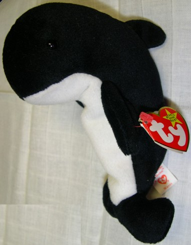 Waves - Orca Whale - TY Beanie Baby - 4th G