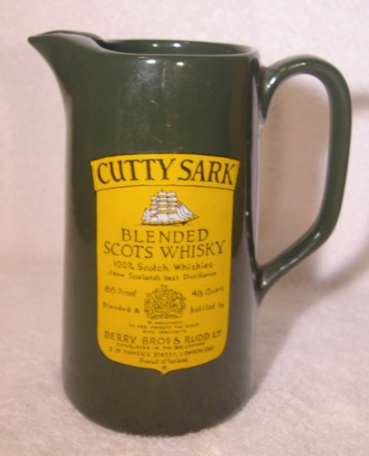 Cutty Sark Advertising Scots Whiskey Bar Water Pitcher Wade Eng