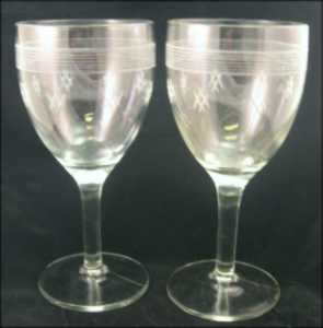 Standard Glass Water Goblets Line 3350s Cut #2 1930s (2)