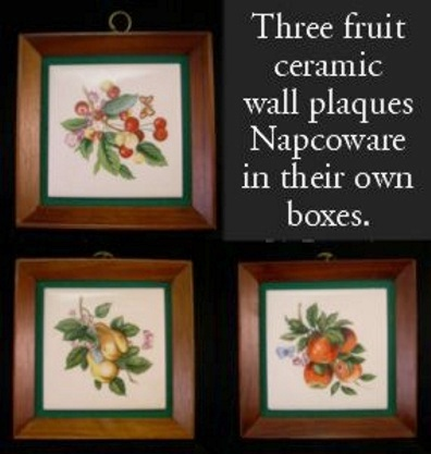 Three Wall Hangings - Ceramic Framed Fruit Tiles