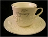 25th Anniversary Gift Cup & Saucer Set with Roses & Platinum NEW
