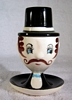 Norcest Figural Egg Cup with Top Hat Salt Shaker