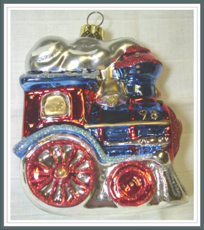 Blown Glass - Festive Locomotive - Crown Reflections - 1998