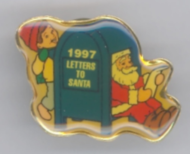 Hallmark 1997 Letters to Santa Lapel Hat Pin NEW