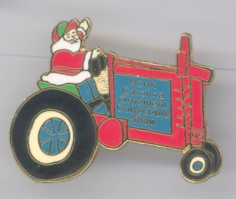 Santa Riding Tractor 1995 NC Ornament Collectible Show Lapel Pin