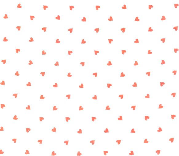 Vintage Cotton Fabric with Red Hearts