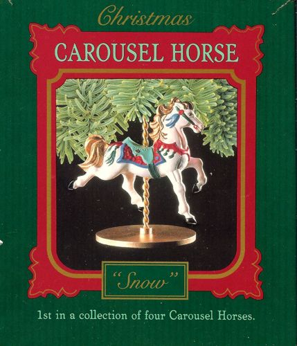 Christmas Carousel Horse Collection 5 Piece Set Reach Ornaments 1989