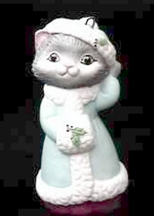 Christmas Kitty - 2nd - Kitten in Coat and Hat - 1990