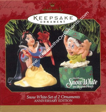 Snow White - Set of 2 Ornaments - Anniversary Edition - Disney - 1997