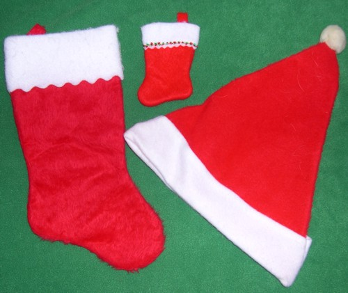 Santa Claus Hat, Christmas Stocking, and Baby Christmas Stocking