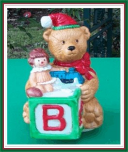Musical Teddy Bear - Vintage Wind Up Music Box - Pottery