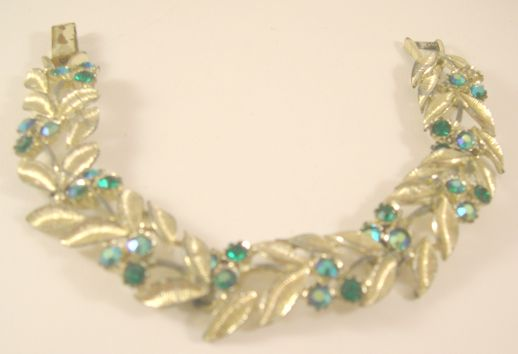 Vintage Floral Silvertone and Rhinestone Bracelet by Star - 1930s