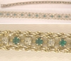 Silver Tone Emerald Green and Crystal Rhinestones Tennis Bracelet
