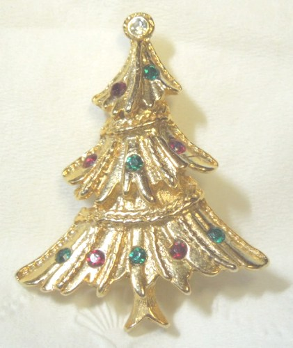 Christmas Tree Rhinestones Goldtone Pin / Brooch
