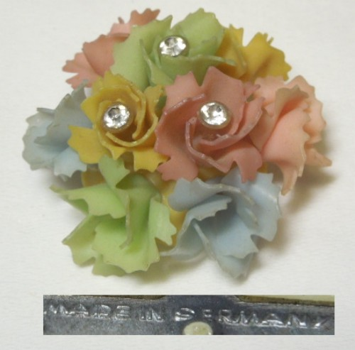 Germany Colorful Plastic and Rhinestone Pin / Brooch