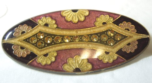 Floral Enamel and Rhinestone Brooch by Pierre Bex of France