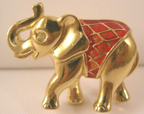 Red Enameled and Gold-tone Elephant Lapel Pin