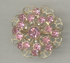 Pink Ice Rhinestone Gold-Tone Filigree Brooch