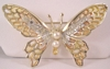 Coro Butterfly Brooch / Pin with Rhinestones & Faux Pearls