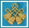 Vintage Jewelry Gold Tone Holiday Fashion Rope Pom-Pom Brooch