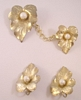 Sarah Coventry Leaf & Pearl Chatelaine & Earrings Demi-Parure Set