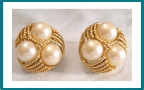 Vintage Gorgeous Gold Tone Faux Pearls Pierced Earrings
