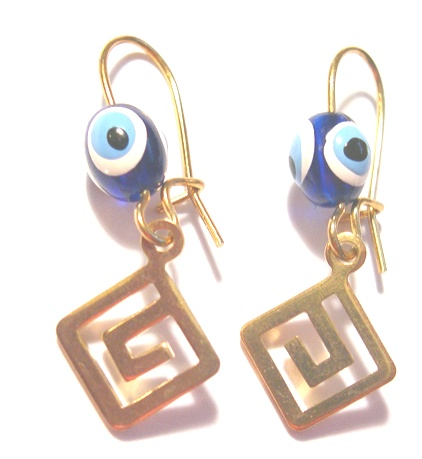 Handmade Gold-tone Greek key Earrings with the Evil Eye