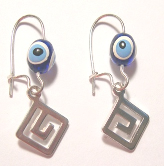 Handmade Silver-tone Greek key Earrings with the Evil Eye