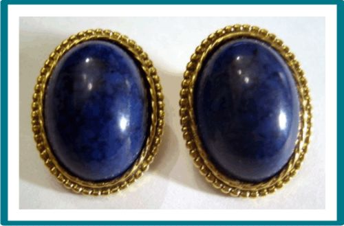 Classic Variegated Blue and Black Cabochon Pierced Earrings