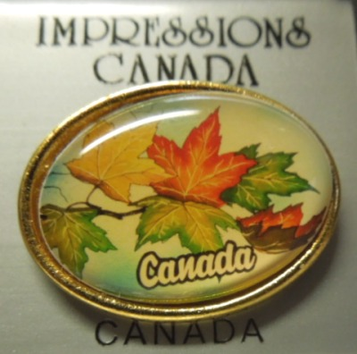 Canada Maple Leaves Lacquered Hat Lapel Pin
