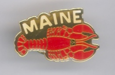 State of Maine Lobster Lacquered Hat Lapel Pin