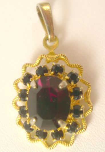 Goldtone Pendant with Faux Ruby Rhinestones