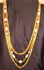 Six strand gold-tone chain and faux pearl necklace - Japan