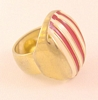 Large Vintage Red and White Enameled Gold Tone Ring by Castlecliff