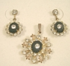 Austrian Crystal Rhinestones and Black Demi Parure set