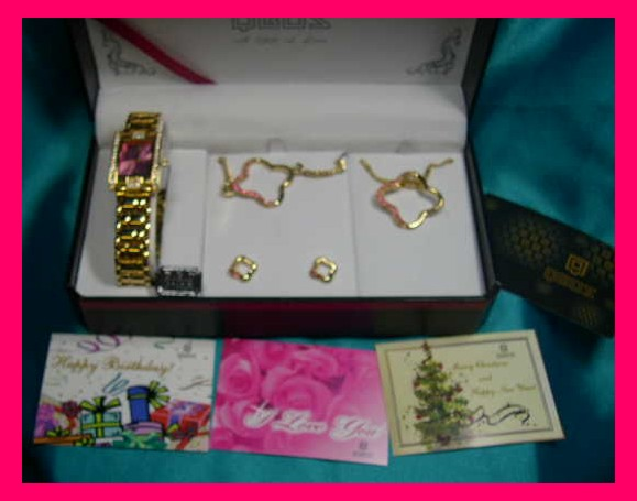 QBOS Ladies Watch 5 Piece Jewelery Set with Pink Rhinestones