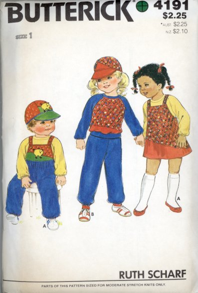 Butterick 4191 Child Toddler's Top Pants Hat Jumper Overalls Size 1