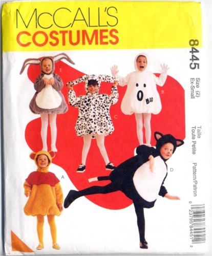 McCalls 8445 Bear Ghost Dog Bunny & Cat Costumes Size 2