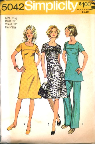 Vintage Simplicity 5042 Chic Dress Tunic Pants Pattern Size 16 1/2
