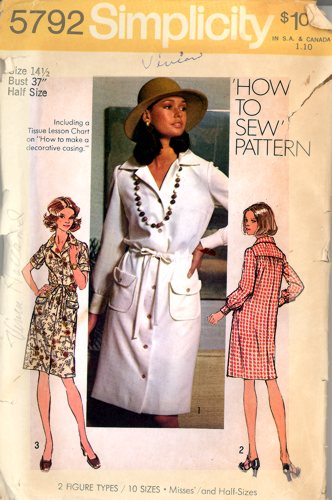 Vintage Simplicity 5792 How to Sew Pattern Dress Size 14 1/2