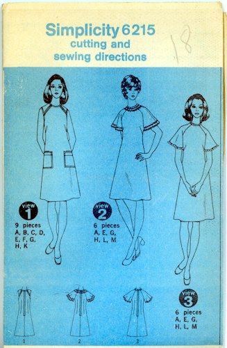 Vintage Simplicity 6215 Dress with Raglan Sleeves Pattern Size 18