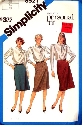 Simplicity 6521 Personal Fit Pattern Skirt Size 18 New Old Stock