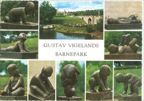 Postcard Gustav Vigeland Sculpture Park Oslo Norway and Stamp