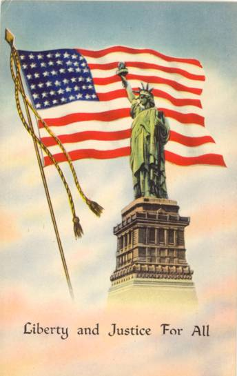 Linen Patriotic Postcard Liberty & Justice For All w/ 48 Star Flag