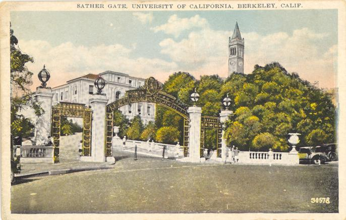 Postcard Pre-Linen Sather Gate Univ of CALIF Berleley CA