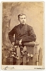 Vintage Cabinet Card Man Standing Beside Fence Post