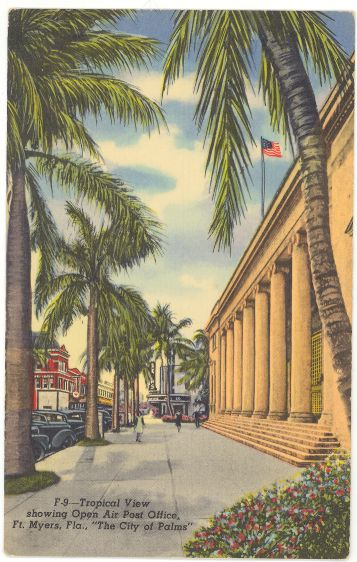 Linen Postcard Open Air Post Office Ft. Myers Florida