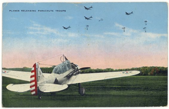 Linen Postcard Army Planes Releasing Parachute Troops 1942