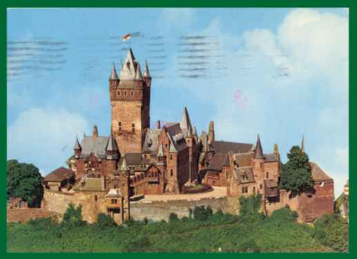 Postcard Reichsburg Castle Mosel Valley Germany + Stamp