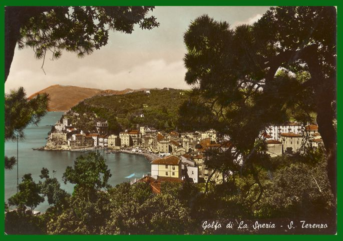 RPPC Hand Colored Photo Postcard Gulf at San Terenzo Italy